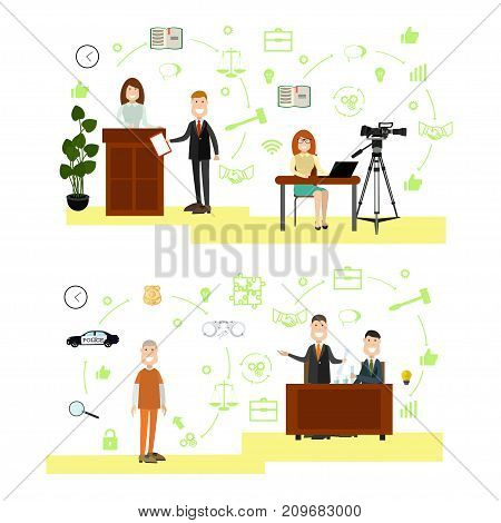Vector set of legal trial scenes with lawyers questioning witness, proving his client innocence, woman recording court hearing. Law court people flat symbols, icons isolated on white background.