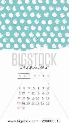 Calendar 2018 months December. Week starts from Sunday. Hand drawn with snow grain eps 10