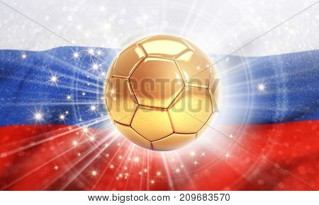 Gold soccer ball shining on the Russian flag. 2018 international soccer event. 3D illustration