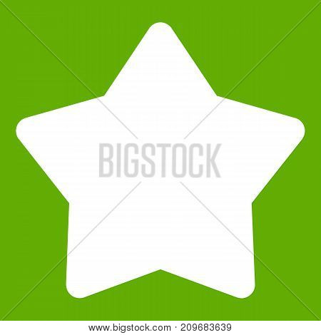 Star icon white isolated on green background. Vector illustration
