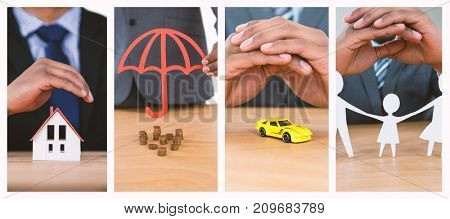 hand protecting a family in paper against businessman protecting house model with hands