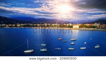 Scenic view of sea with boats
