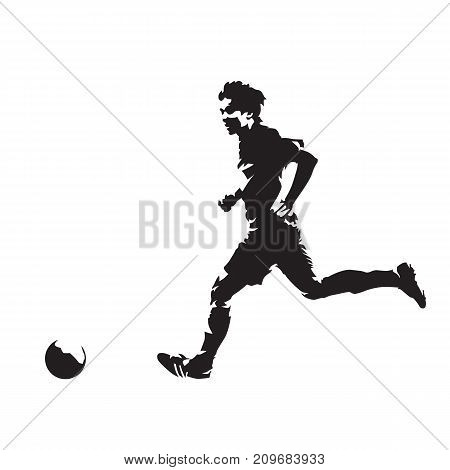Soccer player running with ball abstract vector silhouette