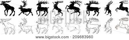Deer and elk black and white silhouette outlines set - vector collection