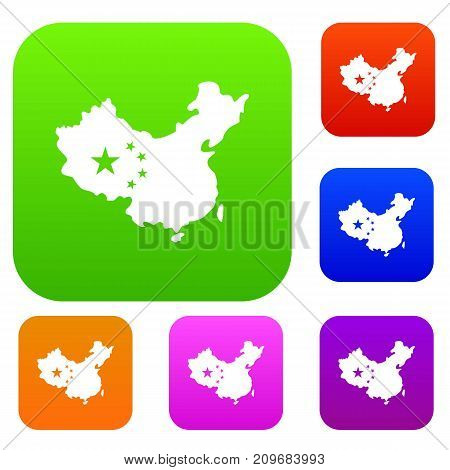 Map of China set icon color in flat style isolated on white. Collection sings vector illustration