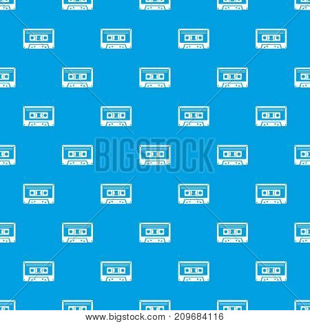 Cassette tape pattern repeat seamless in blue color for any design. Vector geometric illustration