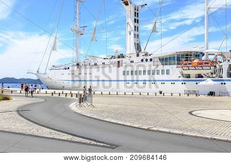 ZADAR, CROATIA - 15 JULY, 2017: Cruise liner near the coast of Zadar, Croatia