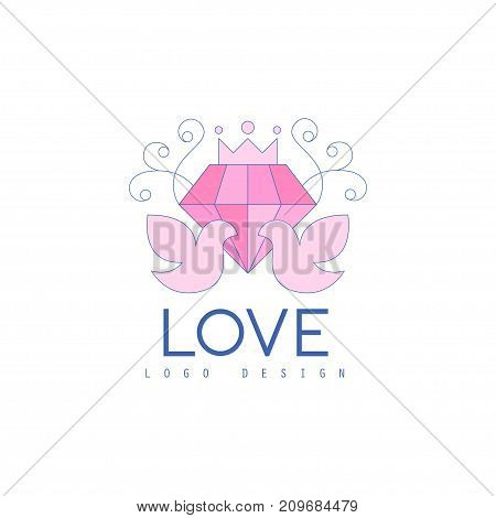 Cute thin line logo design with love doves and diamond. Pigeon and precious stone for greeting card, poster wedding agency, salon. Lovely image for save date wedding invitation. Vector on white