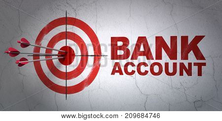 Success currency concept: arrows hitting the center of target, Red Bank Account on wall background, 3D rendering