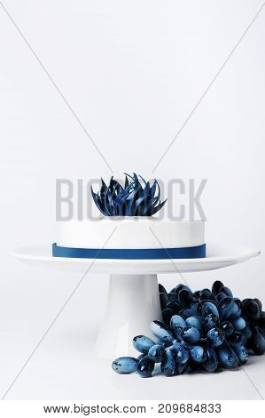 Wedding modern trendy white cake on cake stand isolated background with grape or berry set decorated blue trendy chocolate flower and ribbon. Dessert Food concepts. Mousse cake with white glaze