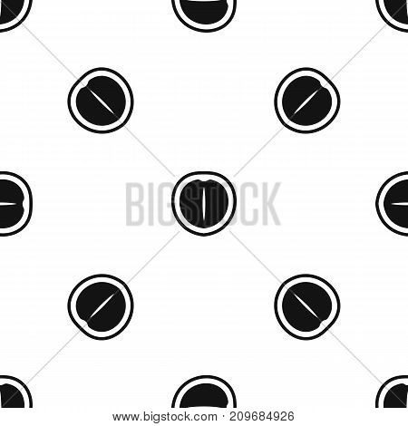 Macadamia nut pattern repeat seamless in black color for any design. Vector geometric illustration