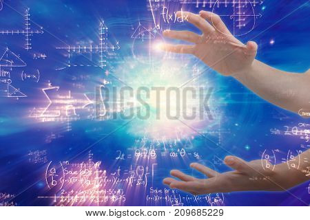 Hands gesturing against white background against illustration of mathematical problems with solution