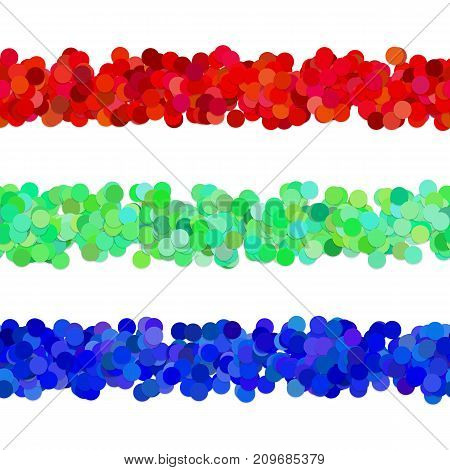 Repeatable abstract dot pattern page dividing line design set - vector graphic elements from red, green and blue circles with shadows