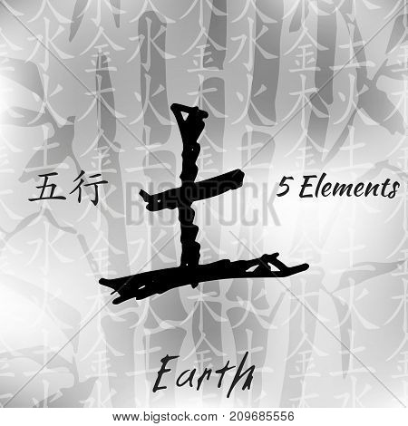 Five Feng Shui Elements Set - Chinese Wu Xing symbols. Translation of chinese hieroglyphs wood, fire, earth, metal, water.
