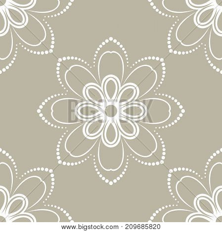 Floral vector white ornament. Seamless abstract classic background with flowers. Pattern with repeating elements