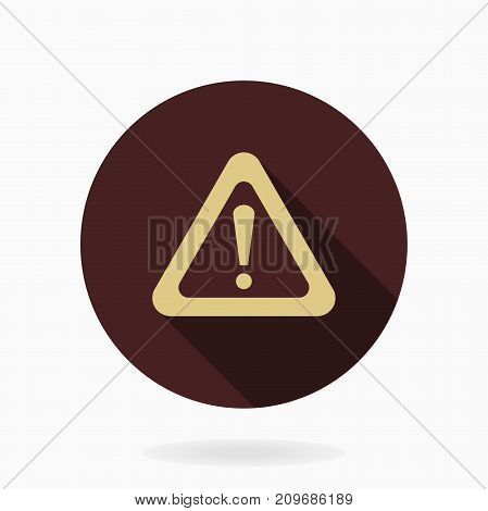 Fine vector exclamation flat golden icon in the circle. Flat design and long shadow