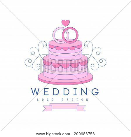 Cute thin line logo design with tiered cake and rings on the top. For greeting card, poster wedding agency, salon. Lovely image with text for save date wedding invitation. Vector isolated on white