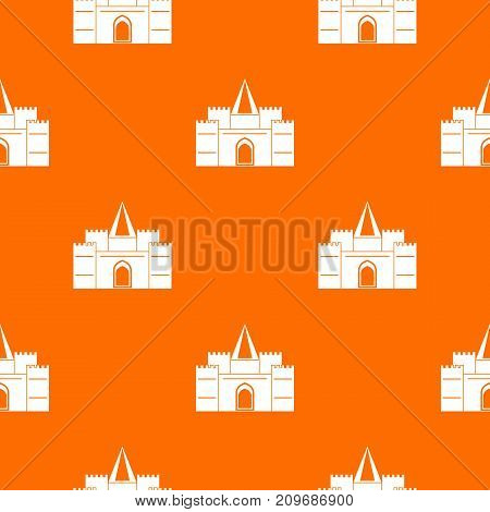 Residential mansion with towers pattern repeat seamless in orange color for any design. Vector geometric illustration