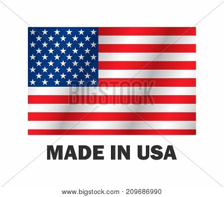 American Flag, Made Usa Vector Illustration Stylish Design