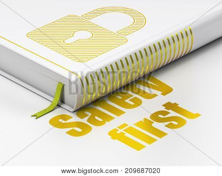 Privacy concept: closed book with Gold Closed Padlock icon and text Safety First on floor, white background, 3D rendering