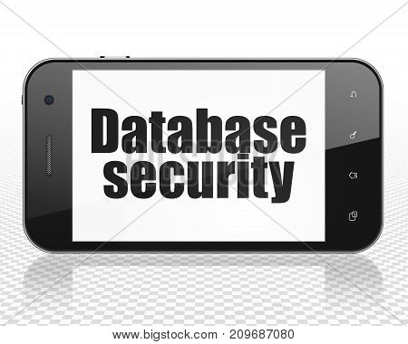 Safety concept: Smartphone with black text Database Security on display, 3D rendering