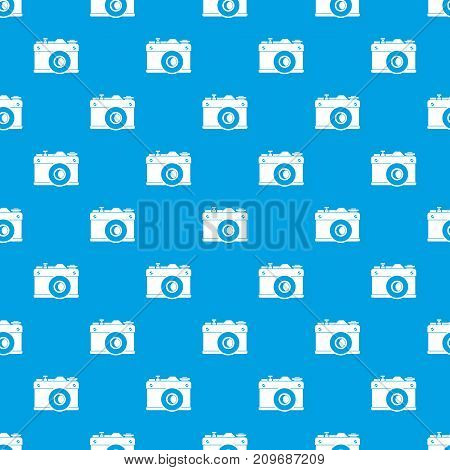 Retro camera pattern repeat seamless in blue color for any design. Vector geometric illustration