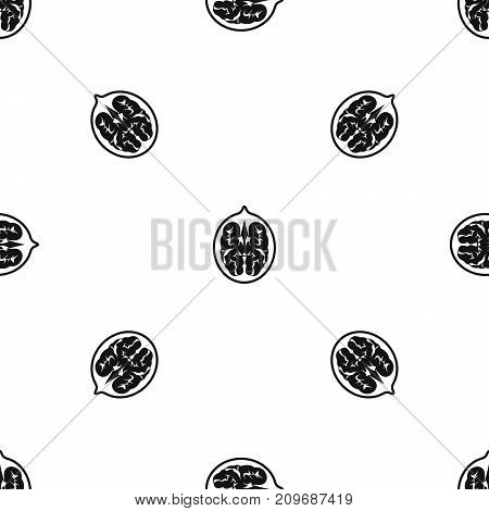 Walnut pattern repeat seamless in black color for any design. Vector geometric illustration