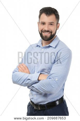 Handsome successful businessman on white background