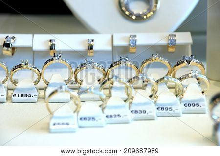 Diamond engagement rings in a shop display