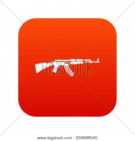Military rifle icon digital red for any design isolated on white vector illustration