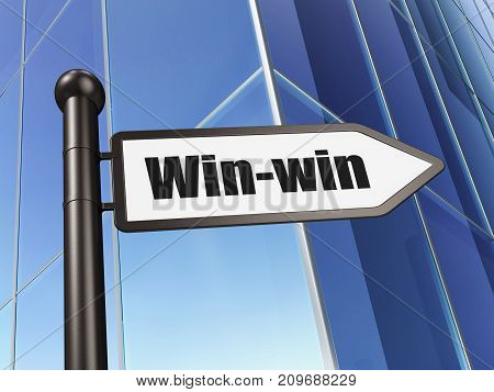 Finance concept: sign Win-Win on Building background, 3D rendering