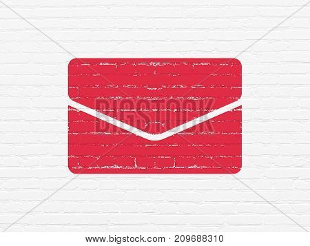 Finance concept: Painted red Email icon on White Brick wall background