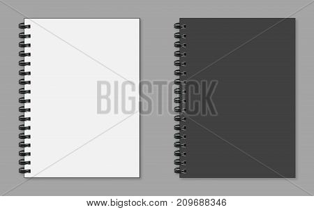 Realistic Notepad Wish Sadow Flat Style On A Grey Background