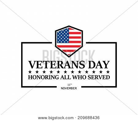 Happy Veterans Day Illustration On A White Background