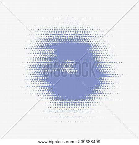 Glitched vector halftone stain. Colorful blot made of round particles. Modern abstract generative illustration. Random distorted spot. Scattered array of dots. Gradation of tone. Element of design.