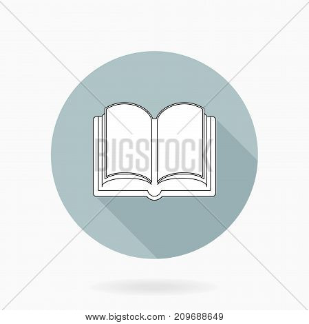 Fine vector book white icon in the circle. Flat design and long shadow