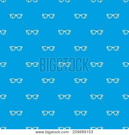 Eyeglasses pattern repeat seamless in blue color for any design. Vector geometric illustration