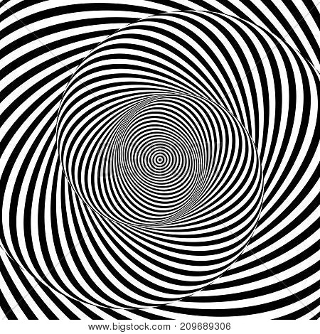 Monochrome hypnotic psychedelic spiral. Modern vector illustration with optical illusion. Twisted striped round shape. Magical decorative background. Element of design.