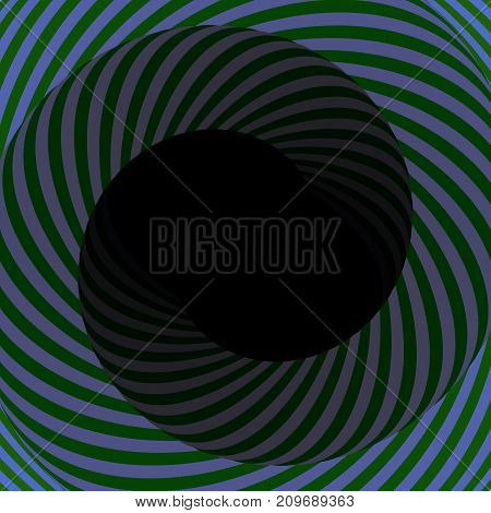 Colorful hypnotic psychedelic spiral. Modern vector illustration with optical illusion. Twisted striped round tunnel. Magical decorative background. Element of design.