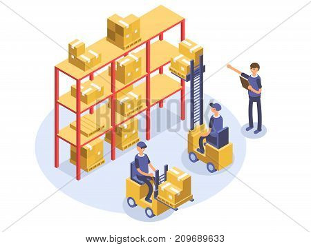 Fast delivery concept. Warehouse, loader, man, workers. Product goods shipping transport Isometric illustration