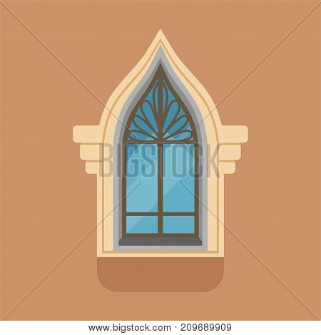 Exterior window with unusual gothic form on brown wall. Outdoor view of decorated facade. Architectural details, building element of glass and black metal. Flat style vector illustration isolated