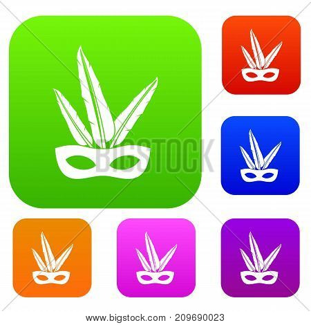 Carnival mask set icon color in flat style isolated on white. Collection sings vector illustration