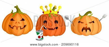 a collection of evil vector pumpkins on a halloween on a white background