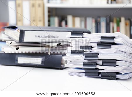 Documents on table in archive