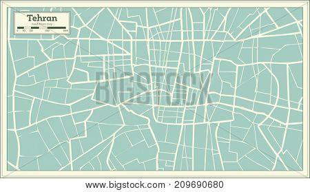 Tehran Iran Map in Retro Style.