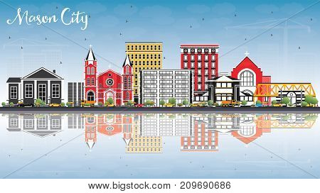 Mason City Iowa Skyline with Color Buildings, Blue Sky and Reflections. Business Travel and Tourism Illustration with Historic Architecture.