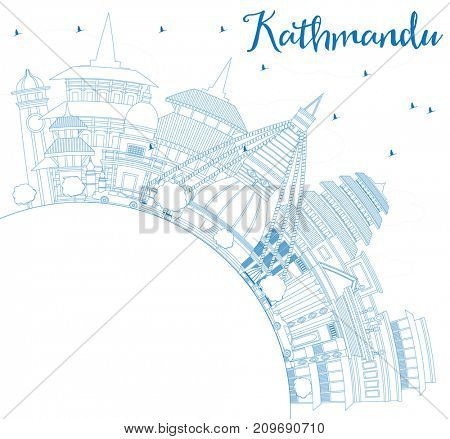 Outline Kathmandu Skyline with Blue Buildings and Copy Space. Business Travel and Tourism Concept with Historic Architecture. Image for Presentation Banner Placard and Web Site.