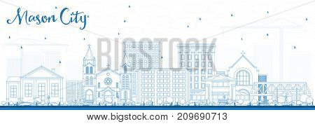 Outline Mason City Iowa Skyline with Blue Buildings. Business Travel and Tourism Illustration with Historic Architecture.