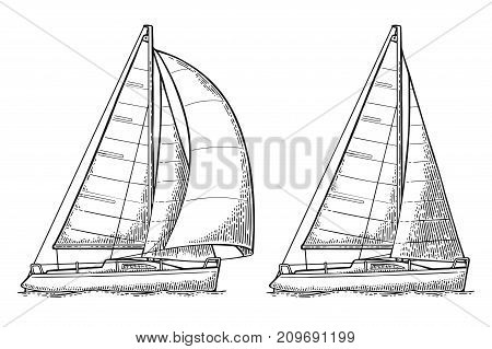 Two sailing ship with wave isolated on white background. Vector vintage black engraving illustration. Hand drawn graphic style. For yacht club.