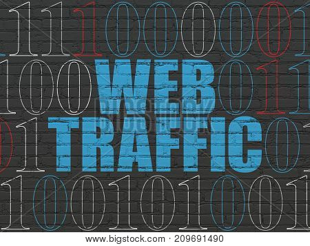Web design concept: Painted blue text Web Traffic on Black Brick wall background with Binary Code